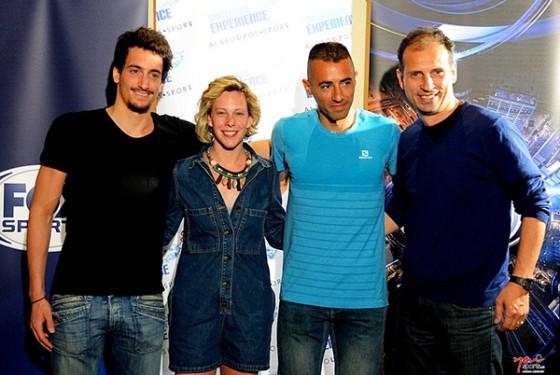 Από αριστερά: Γιώργος Αρνιακός, Πανευρωπαϊκός Πρωταθλητής Κολύμβησης Ανοιχτής Θαλάσσης, Κέλλυ Αραουζου, Παγκόσμια Πρωταθλήτρια Κολύμβησης Ανοιχτής Θαλάσσης, Δημήτρης Θεοδωρακάκος, Κορυφαίος Μαραθωνοδρόμος, Νίκος Πολιάς, Τεχνικός Διευθυντής της Διοργάνωσης στο Τρέξιμο